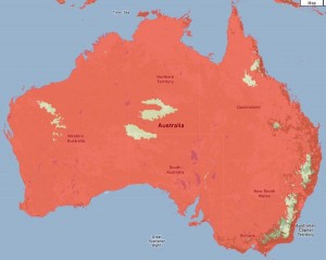 Area of Australia covered with 600 metre sea-level rise