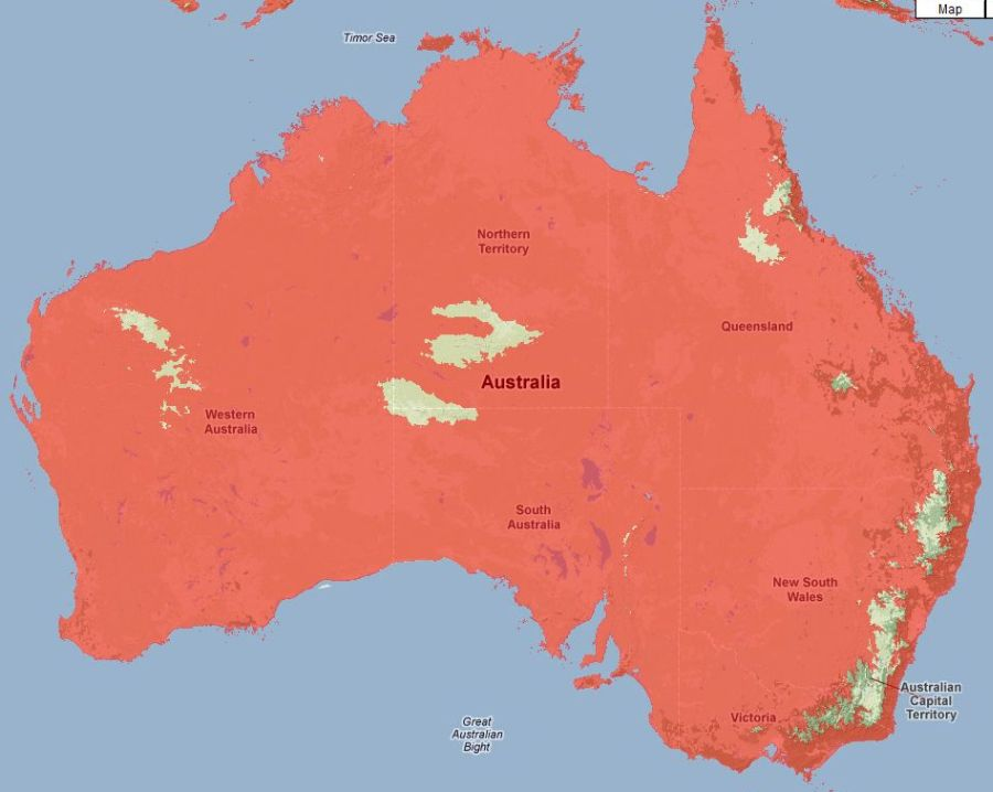 area of australia covered with 600 metre sea level rise