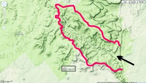Rainfall catchment for Carnarvon Gorge. Arrow shows entrance to gorge. Google map, terrain view.