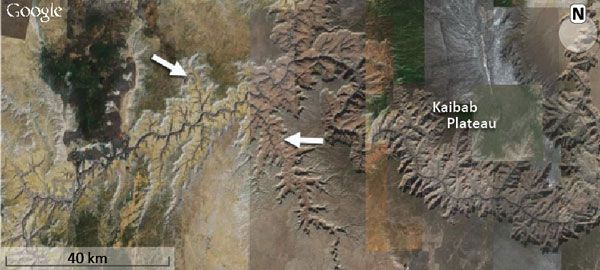 Grand Canyon, USA, was carved by receding floodwaters