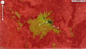Carnarvon Gorge area. Red=600m; Orange=800m; Yellow=1000m; Black=1000m+