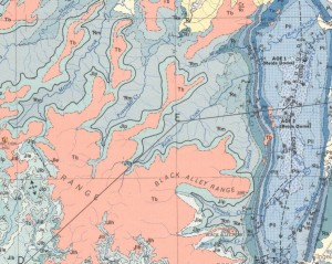 Geological map showing Tertiary basalt from area just north of Carnarvon Gorge