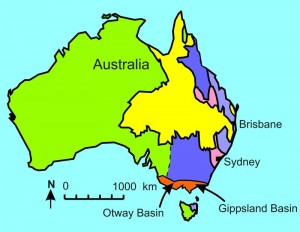 Fig 5. Otway and Gippsland basins probably deposited as floodwaters began to recede.