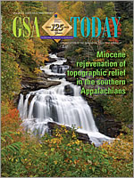 Cover of GSA Today issue featuring the uplift of the Appalachians toward the end of the global Flood.