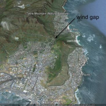 Google earth reveals ancient flow channels through mountains on Cape Peninsula south of Cape Town, South Africa