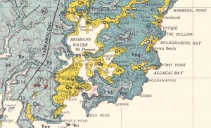Geological map of the area around Gosford, New South Wales, from Sydney map SI 56-05