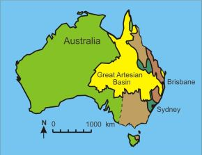 Major geological features of Eastern Australia. Gosford is located in the north part of the green area of the Sydney Basin.
