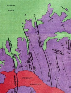 Figure 1. Simplified geology of the Bendigo area. Purple = folded gold-bearing sediments, red = granitic intrusion, green = late, sedimentary cover. (From ref. 1,)