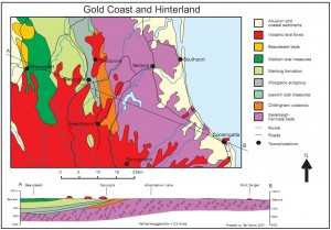 Figure 1. Geological map and cross section of the Gold Coast and Hinterland, Australia.