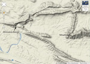 Terrain view of Google Maps shows Ormiston Creek flowing through the steep-sided Ormiston Gorge, which cuts through ridge of the Heavitree Quartzite.
