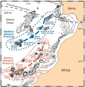 Figure 3 Bathymetric map showing the Canary (red) and Madeira (blue) volcanic provinces, including islands and associated seamounts, in the eastern central North Atlantic. Thick dashed lines mark centers of possible hotspot tracks. (From Hoernle and Carracedo)