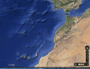 Figure 2. Google map of Canary Islands off west coast of Africa, toward the bottom of the map.