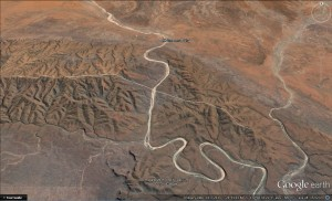 Figure 1. Fink River south of Hermannsburg flowing through Krichauff Range. Width of image is about 25 km.