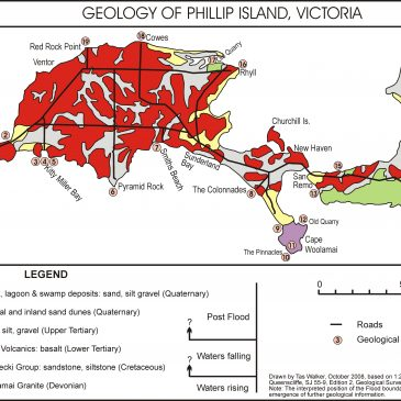 Geological map of Phillip Island, Victoria, Australia