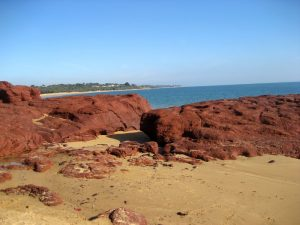 Outcrops of red basalt at Red Rock Point, Phillip Island.