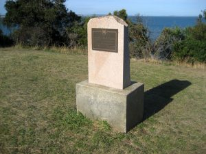 Memorial at Rhyll to visit by Lieutenant James Grant.