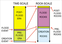 Time scale and rock scale in Biblical geology model